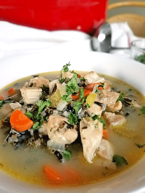 chicken soup that is gluten-free, dairy-free and egg-free. Research shows that chicken soup helps to alleviate the symptoms of a cold!