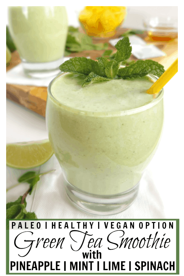 This Green Tea Smoothie with Pineapple and Spinach is refreshing and delicious, but it's also super nutritious and contains ingredients that may help soothe allergy symptoms! Gluten-free, dairy-free, nut-free, and Paleo with a vegan option.
