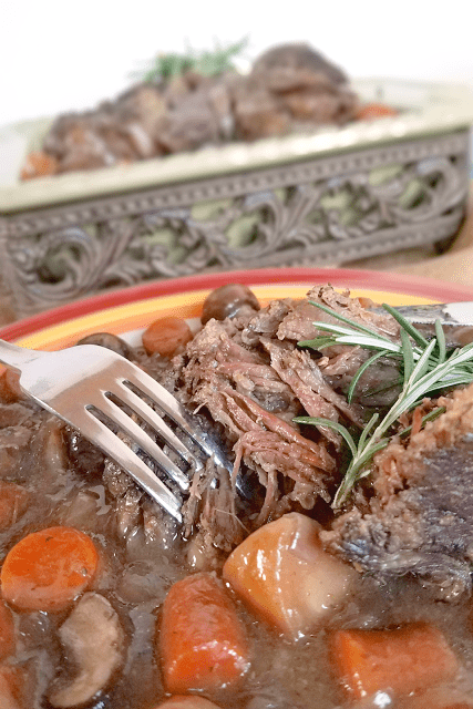 This pot roast will melt in your mouth! It's so good you'll never guess that it's loaded with nutrients and gluten-free, dairy-free, Paleo, low-carb and can be made Whole30 compliant!