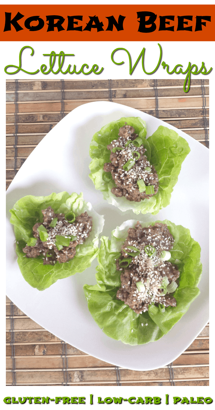 These Korean Beef Lettuce Wraps are a healthy, gluten-free and Paleo-friendly way to enjoy the bold flavor of Korean BBQ! Only 10 ingredients and 15 minutes are needed for this appetizer or light dinner.