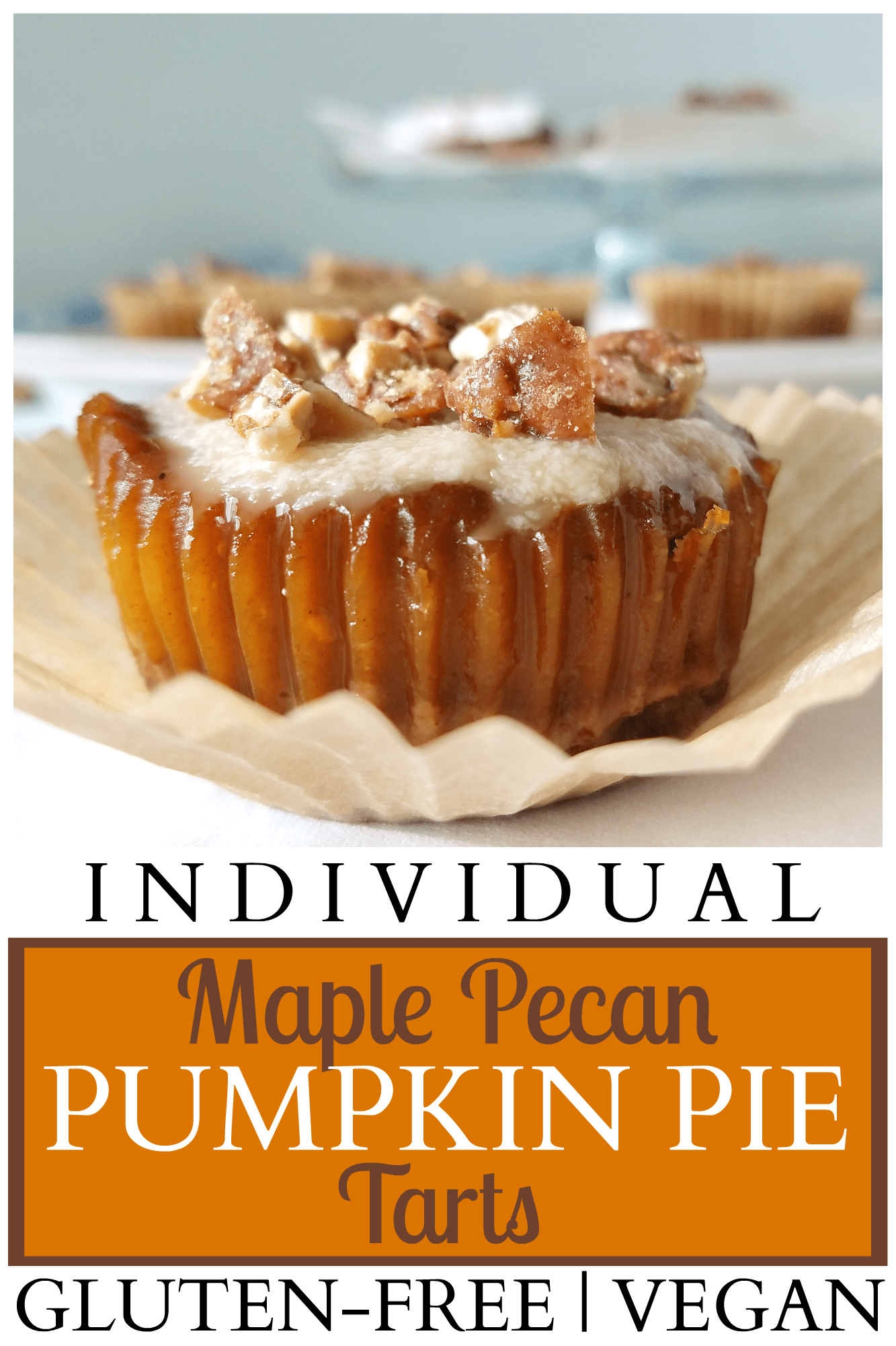 These individual Maple Pecan Pumpkin Pie Tarts are bursting with flavor thanks to the pecan crust, maple glaze and perfectly-spiced pumpkin pie filling! Since they are gluten-free, grain-free, egg-free and dairy-free (vegan), they can be enjoyed by just about all of your guests, even those with food allergies. Get out your muffin pan and give these a try!