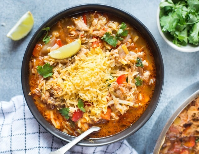 Low Carb Cabbage Chicken Taco Soup by The Flavours of Kitchen