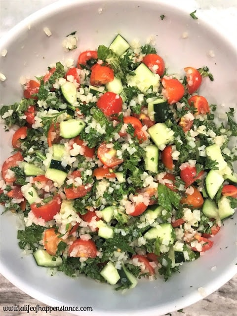 Riced Cauliflower Tabbouleh by A Life of Happenstance