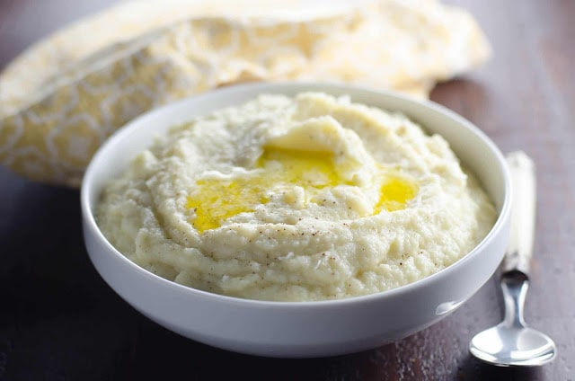 Creamy Mashed Cauliflower with Smoked Gouda by Umami Girl