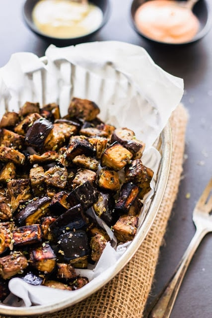 Roasted Eggplant Cubes with Balsamic Vinaigrette by One Clever Chef