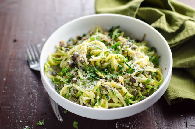 Zucchini Noodles with Lemon Caper Butter by Umami Girl