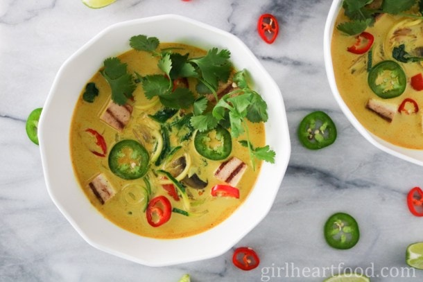 Zucchini Noodle Curry Coconut Soup by Girl Heart Food
