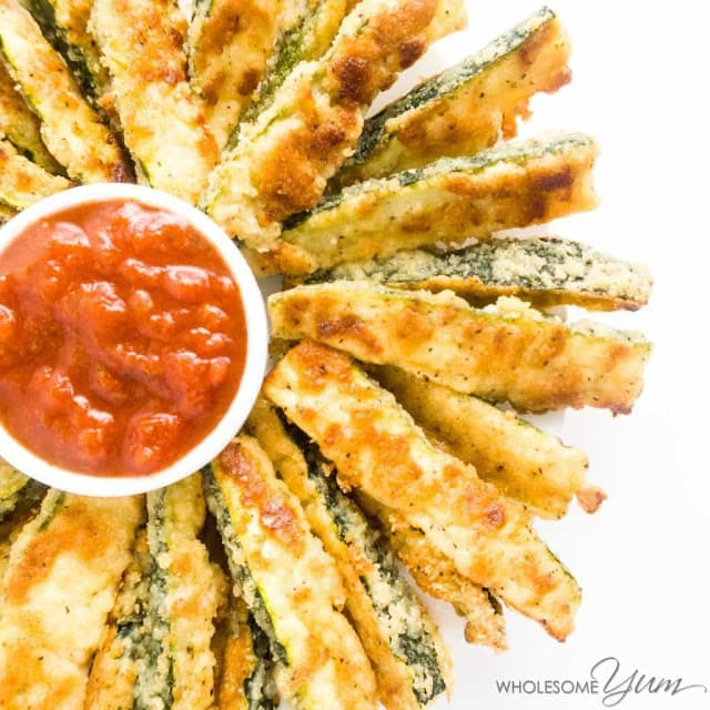 Crispy Baked Parmesan Zucchini Fries by Wholesome Yum