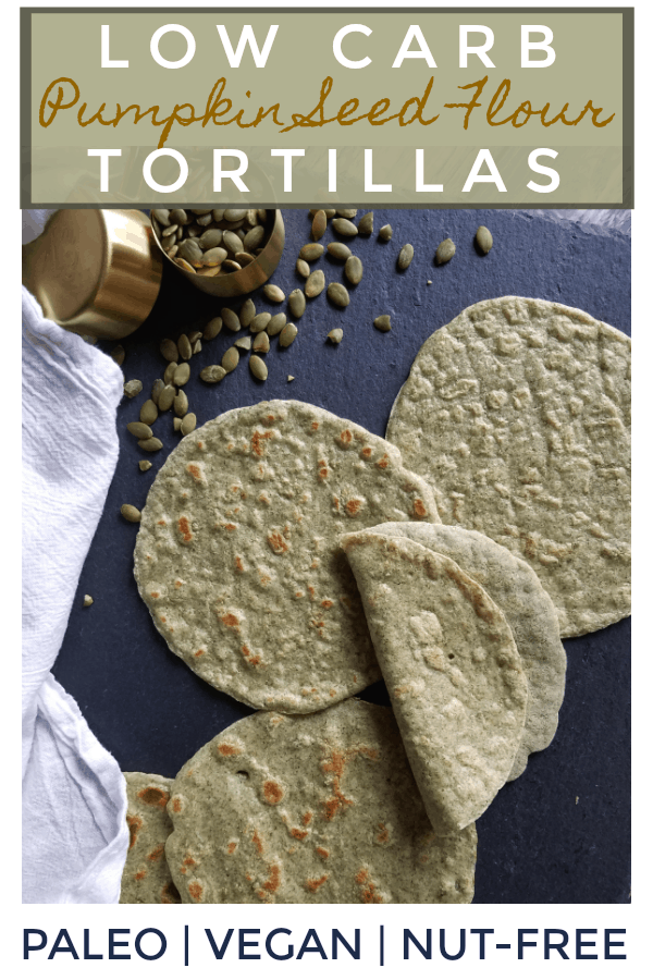 These Grain Free Pumpkin Seed Flour Tortillas are just as pliable, nutritious and delicious as my original grain-free almond flour tortillas, but ground pumpkin seeds instead of almond flour makes them nut-free as well as gluten-free, grain-free, vegan and Paleo. They\'re also easy to make and only require four ingredients. Time to conquer taco night!