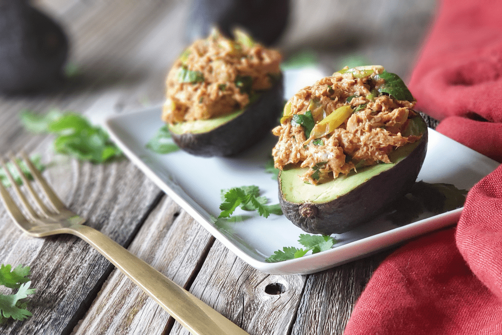 These Chipotle Tuna Salad Stuffed Avocados are loaded with flavor and nutrients, and they only take five minutes to prepare! Paleo and/or Whole30-compliant mayo keeps this recipe Paleo and Whole30-friendly as well as low-carb, keto, gluten-free, dairy-free and grain-free. It's the perfect summer lunch or light dinner!