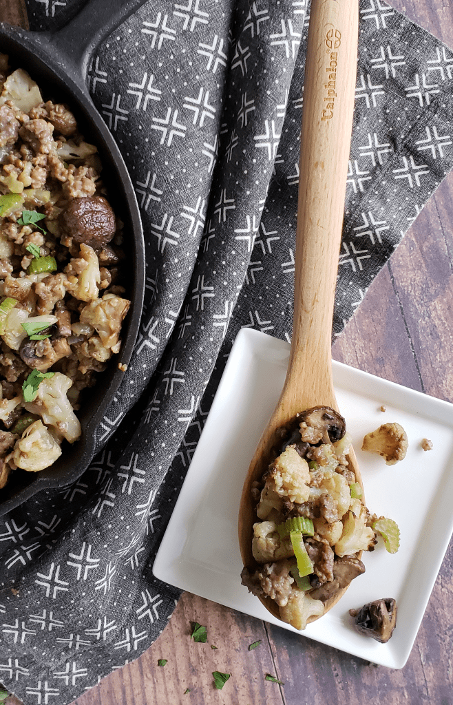 Your Paleo, Whole30, low-carb or keto guests will be thrilled with this grain-free Sausage and Mushroom Cauliflower Stuffing. The combination of dried and fresh sage, celery, onion and leek provides layers of classic flavor, while sausage and mushrooms lend depth and meatiness. The result is an easy to prepare and nutritious grain-free stuffing that brings the mouth watering flavor of traditional stuffing to your Thanksgiving table, but without the bread!