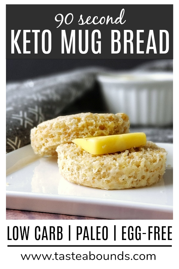 This 90 second keto mug bread is a delicious, nutritious and super easy way to satisfy your craving for bread on a low carb diet! The ingredients are low-carb, keto- and paleo-friendly, and there\'s no eggs (for those of you with an egg allergy).